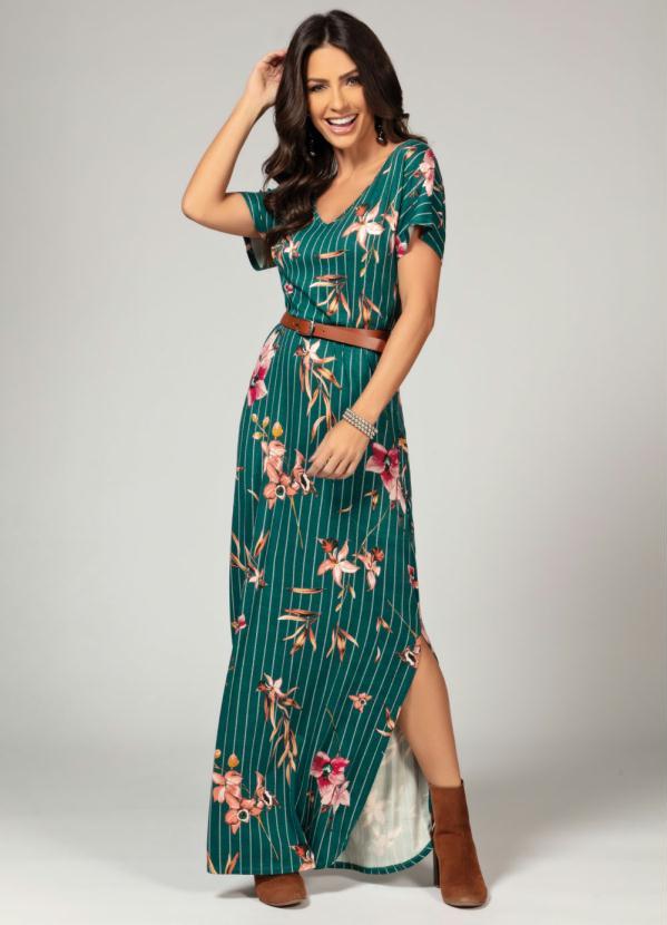 Vestido Longo com Bolsos e Fendas (Floral Verde)
