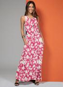 Vestido Longo com Bolsos Folhagem Rosa