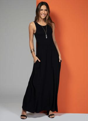 Vestido Longo com Bolsos (Preto)