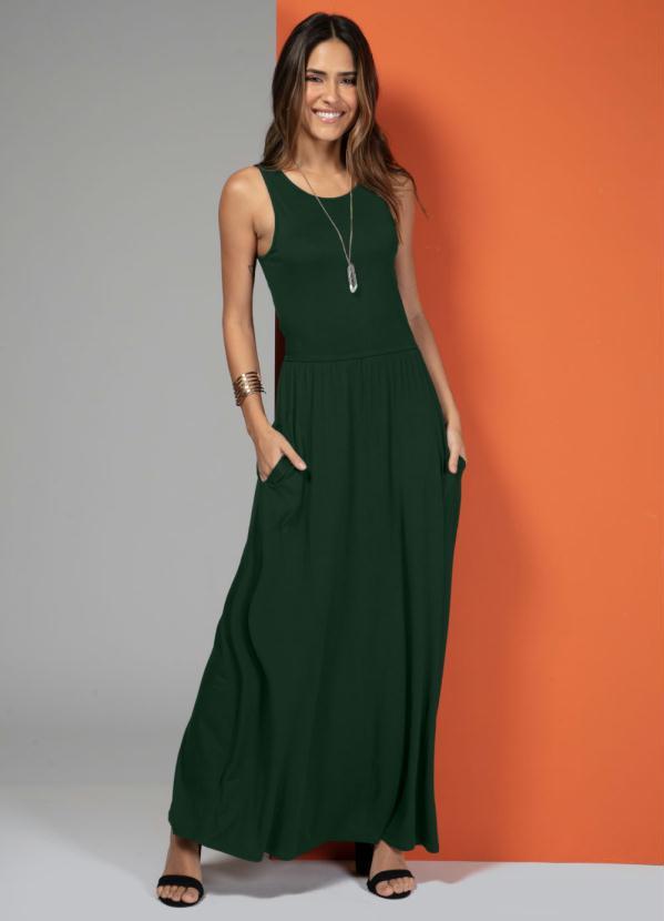 Vestido Longo com Bolsos (Verde)