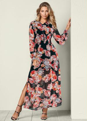 Vestido Longo com Fenda Floral (Preto)