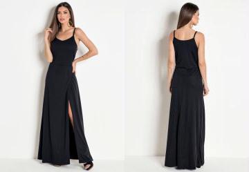 Vestido Longo com Fenda Preta