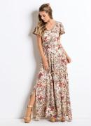 Vestido Longo com Fendas Floral Bege Quintess