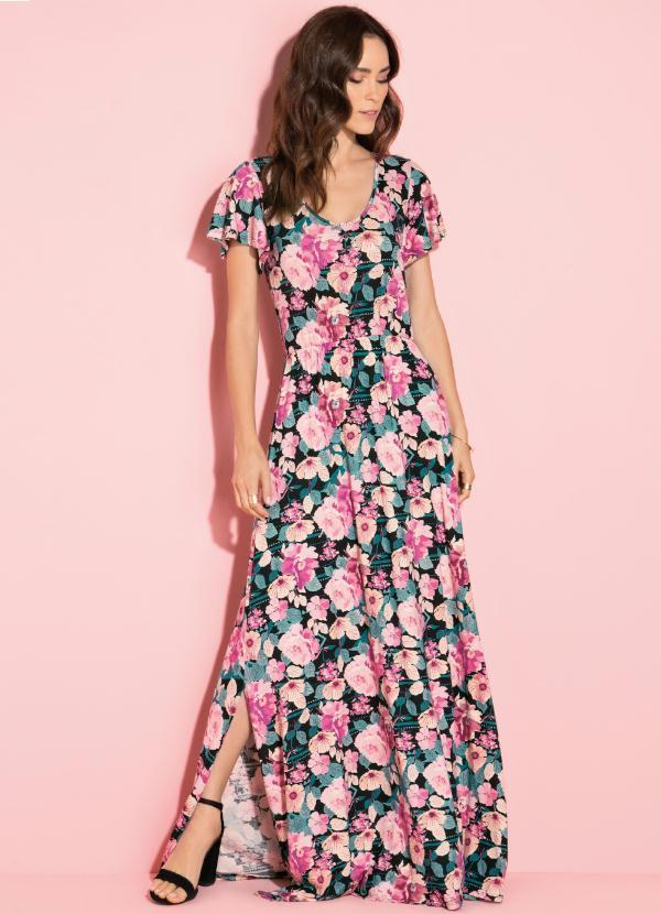 Vestido Longo com Fendas (Floral Preto)