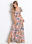 Vestido Longo com Fendas Floral Rosa