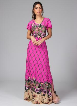 Vestido Longo com Fendas Laterais (Tropical Pink)