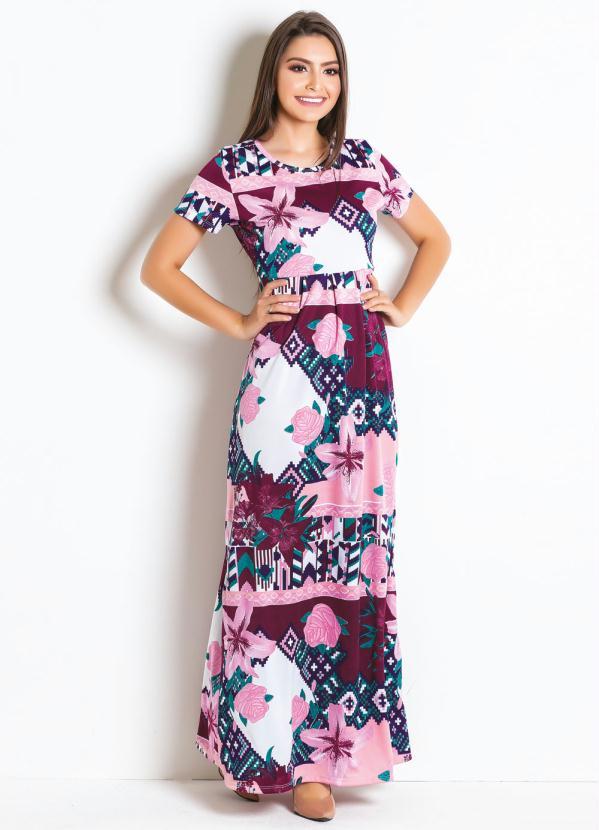 Vestido Longo com Pregas (Floral) Mdoa Evangélica