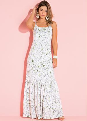 Vestido Longo de Alças (Floral Branco)