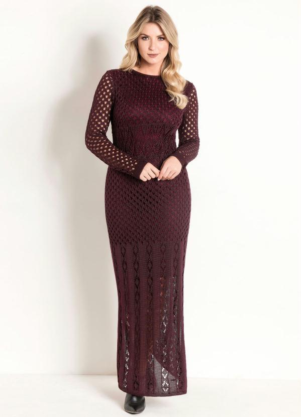 Vestido Longo de Tricô (Vinho) Moda Evangélica