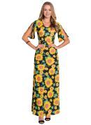 Vestido Longo Estampa Girassol Moda Evangélica