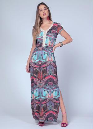 Vestido Longo (Estampado Azul) com Fenda Lateral