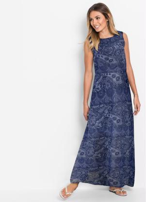 Vestido Longo Estampado (Azul)