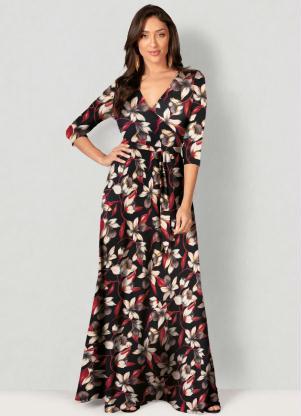 Vestido Longo Estampado Floral (Preto)