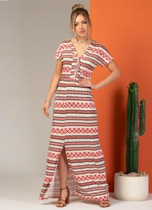Vestido Longo (Étnico Rosa) com Lastex na Cintura