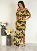 Vestido Longo Floral Amarelo com Fenda