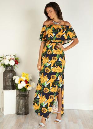 Vestido Longo (Floral Amarelo) com Fenda