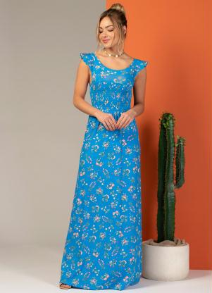 Vestido Longo (Floral Azul) com Elástico no Busto