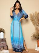 Vestido Longo Floral Azul com Fendas