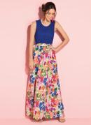 Vestido Longo Floral Azul com Renda