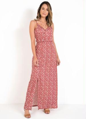 Vestido Longo (Floral) com Alças e Fenda