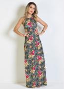 Vestido Longo Floral Frente Única