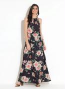 Vestido Longo Floral Preto com Amarração