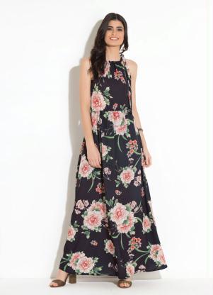 238f533271 Vestido Longo Floral Preto com Amarração - SouLojista
