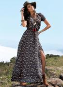 Vestido Longo Floral Preto Transpassado