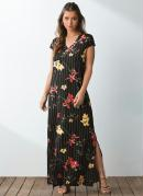 Vestido Longo Floral Risca de Giz com Fenda