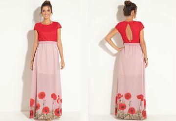 bb74d1761c Score  0.0 Vestido Longo Floral Rosê com Renda