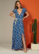 Vestido Longo Florzinha Azul com Fenda Frente