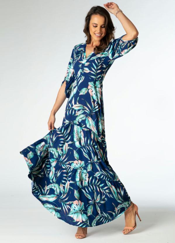 Vestido Longo (Folhagens Azul) com Mangas Bufantes