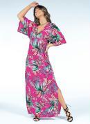 Vestido Longo Folhagens Pink com Fenda Lateral