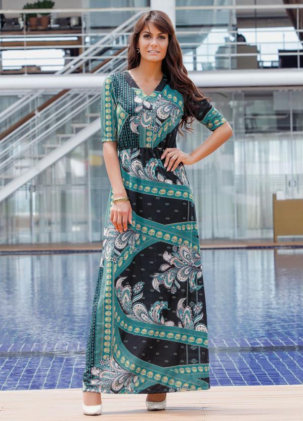 Vestido Longo Decote V (Estampado) Moda Evangélica