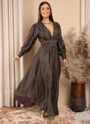 Vestido Longo Marrom Decote V com Brilho
