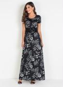 Vestido Longo Moda Evangélica Floral Dark