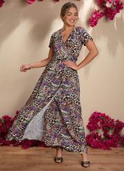 Vestido Longo Onça Transpassado Mangas Curtas