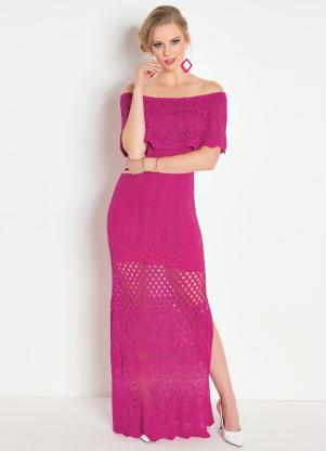 28bfa3b07c Vestido Longo Pink com Babado no Decote - Quintess