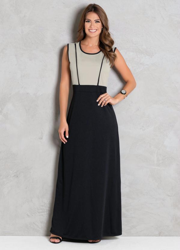 Vestido Longo (Preto e Bege) Moda Evangélica