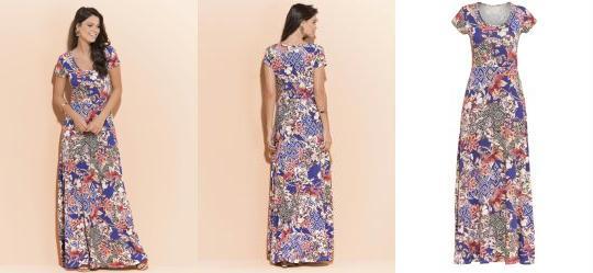 Vestido Longo Quintess Floral com Manga Curta