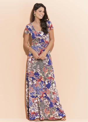 Vestido Longo Quintess (Floral) com Manga Curta