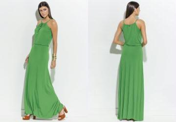 Vestido Longo Quintess Verde Decote Trapézio