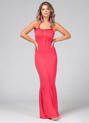 Vestido Longo (Rosa) Decote em Alças
