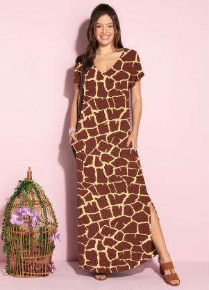 Vestido Longo Soltinho com Fenda (Animal Print)