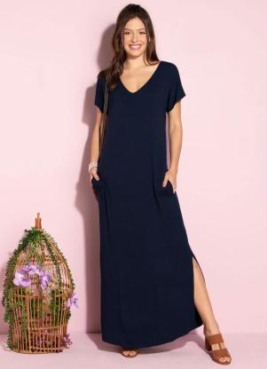 Vestido Longo Soltinho com Fenda (Azul)