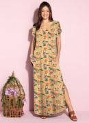 Vestido Longo Soltinho com Fenda Floral Laranja