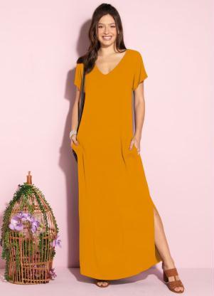 Vestido Longo Soltinho com Fenda (Mostarda)