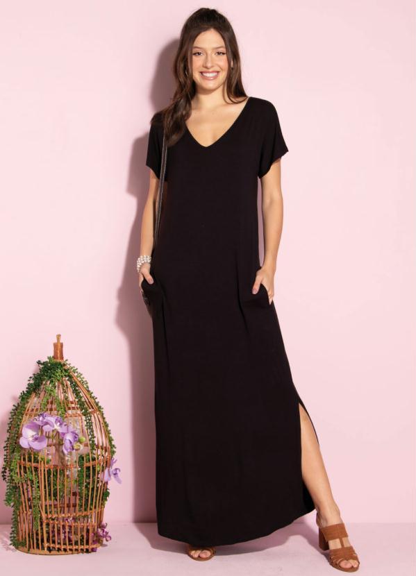Vestido Longo Soltinho com Fenda (Preto)