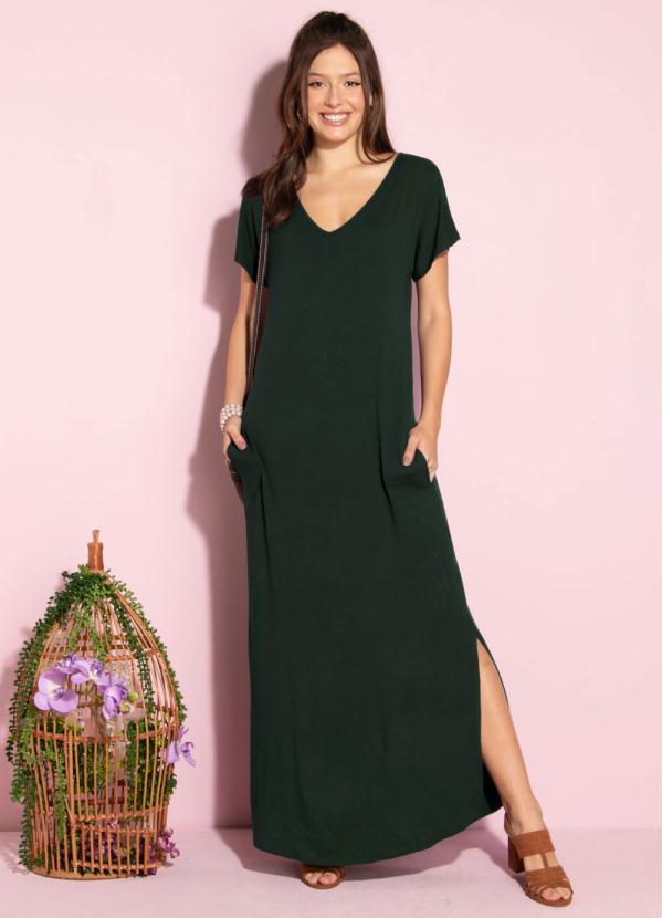 Vestido Longo Soltinho com Fenda (Verde)