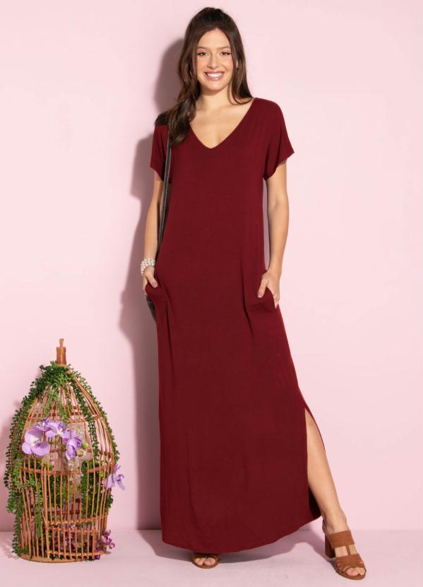 Vestido Longo Soltinho com Fenda (Vermelho)